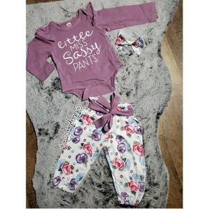 Other - New baby girl Little Ms Sassy 3 piece outfit